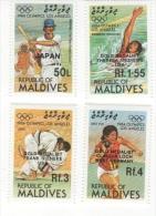 MALDIVES ; MINT N.H. STAMPS ; SCOTT # 1090-3  O.P ;  IGPC 1985 ( 1015-8 O.P  OLYMPIC ; LOS ANGELES - Maldive (1965-...)