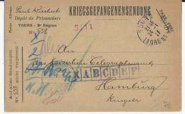 PRISONNIERS De GUERRE ALLEMANDS En FRANCE - INDRE ET LOIRE - 1917 - CARTE REPIQUAGE Du DEPOT De TOURS - Oorlog 1914-18
