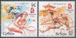 Serbia 2008 China BeiJing Summer Olympic Games Sports TENNIS Peking Stamps MNH Sc 420-421 Michel 237-238 - Serbia
