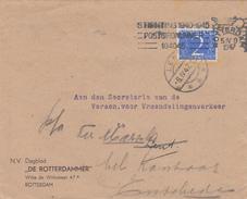 Envelop 5 Apr 1947 Rotterdam (machinestempel) Via Lent *** (typerader Langebalk) Naar Enschede - Poststempels/ Marcofilie
