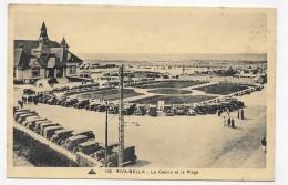 (RECTO / VERSO) RIVA BELLA EN 1936 - N° 136 - LE CASINO ET LA PLAGE AVEC VIEILLES VOITURES - CACHET HEXAGONAL - CPA - Riva Bella