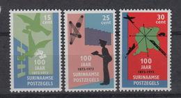 SURINAME : 588-90  ** MNH – 100 Jaar Zegels Suriname – 100 Years Suriname Stamps (1973) - Surinam