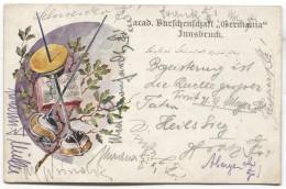 Acad. Burschenschaft GERMANIA Innsbruck, AK STUDENTIKA, Fechten / Fencing, Art PC, 1908. - Schools