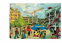 Cpm - Illustrateur J. Desfray - 75 - Paris - Naif Centre Pompidou - Chapiteau Cirque Clown Café Grue Cracheur De Feu - Circo