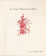 Le Jeune Barreau De Mons  8 Decembre 1962 - Menus