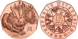 "AUSTRIA    5€  2.016  2016  COBRE-COPPER  SC/UNC   ""Albrecht Dürer's Young Hareaus""   T-DL-11.903 - Oostenrijk"