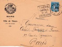 """Fragment D'une Enveloppe : Marie De La """"Ville De Thiers"""" Avac Obliteration """"Dauguin""""  """"Thiers Capitale De La Coutellerie - Covers & Documents"""