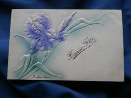Carte Relief, Gaufrée  Iris  Bonne Fete - Précurseur - Circulée - L278A - Fantaisies