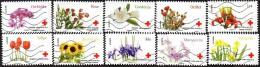 Oblitération Moderne Sur Autoadhésif De France N°  989 à 998 Croix-Rouge - L'amour Avec Les Fleurs - Tulipe, Rose, Etc.. - Autoadesivi