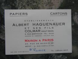 Colmar Ht Rhin Ets Albert Haguenauer Et Ses Fils Mr Roussier - Cartes De Visite