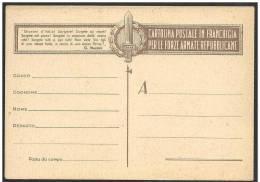 Italia/Italy/Italie Repubblica Sociale, République Sociale, Social Republic: Franchigia, Franchise Militar - 4. 1944-45 Repubblica Sociale