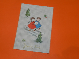 CARTE VINTAGE NOEL  - DEUX ENFANT ROBES ROUGE ET BLEUE / COLOPRINT SPECIAL 8966 - Navidad