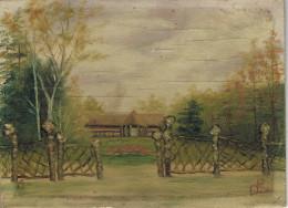 KAMP VAN BEVERLOO  Schilderij Op Hout Peinture Sur Bois 20cm/15 Cm - Leopoldsburg (Kamp Van Beverloo)