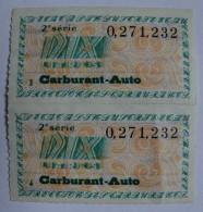 COUPON DE RATIONNEMENT - LOT DE 5 - CARBURANT AUTO -DIX LITRES - ANNEE 50 - - France
