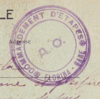 1917.Carte De Salonique Cachet Violet Commandement D'étapes Florina Gare.A O. Peu Courant. Tb état (noté 59ème Tal SP518 - Marcophilie (Lettres)