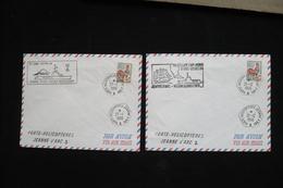 2 Lettre Coq Poste Navale Porte Hélicoptère Jeanne D'arc 1966 Victor Schoelcher Magellan Cap Horn - Marcophilie (Lettres)