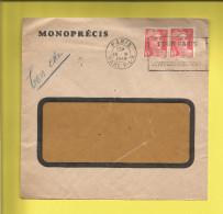 Enveloppe Ou Lettre Publicitaire Commerciale De PARIS  MONOPRECIS Timbre N° 721A X 2 Type GANDON Voir Scanner - 1921-1960: Période Moderne
