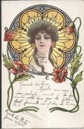 60863 ART ART NOUVEAU FACE WOMAN AND FLOWER POSTAL POSTCARD - Ilustradores & Fotógrafos