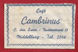 Suikerzakje.- MIDDELBURG. Café - CAMBRINUS - C. Den Exter Zusterstraat 17. Sugar. Sucre. 2 Scans - Sucres