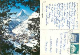 Matterhorn, Zermatt, VS Valais, Switzerland Postcard Posted 1974 Stamp - VS Valais