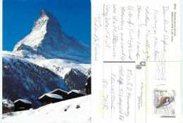 Matterhorn, Zermatt, VS Valais, Switzerland Postcard Posted 2012 Stamp - VS Valais
