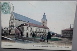 """CPA  51 - Hautvillers - L'église - 1905 - Animée - Colorisée - """"berceau Du Champagne"""" - Autres Communes"""