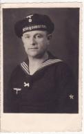 Carte Postale Photo Militaire Allemand  Fusillier Marin -KRIEGSMARINE- Kaiser Marine-Bâteau Guerre-39-45-Schiffe - Guerre 1939-45