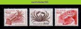 Mdl066 FAUNA VISSEN INKTVIS KRAB SQUID CRAB FISH FISCHE POISSONS MARINE LIFE IJSLAND ISLAND 1985 PF/MNH - Maritiem Leven