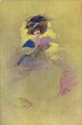 60878 ART ARTE SIGNED WOMAN WITH A HAT AND BOUQUET FLOWER POSTAL POSTCARD - Künstlerkarten