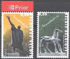 Belgique 2004 COB 3308 - 3309 Neuf ** Cote (2016) 2.10 Euro Sculpteur Idel Lanchelevici Emission Avec La Roumanie - België