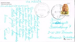 19912. Postal Aerea BUENO AIRES (argentina) 1992 A Alemania. Stamp Setaas, Champignons - Argentina