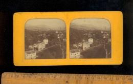 Photographie Stéréoscopique 3D Relief Photo Stéréo C.1860´s CLERMONT FERRAND Panorama Vu De Royat Effet Incendie - Stereoscopio