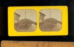Photographie Stéréoscopique 3D Relief Photo Stéréo C.1860´s LE MONT DORE Puy De Dôme Auberge De RANDANNE / Montgolfière - Stereoscopio
