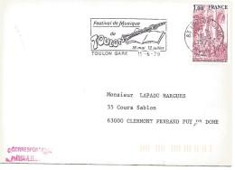 FLAMME DE TOULON GARE 1979 FESTIVAL DE MUSIQUE - Marcofilia (sobres)