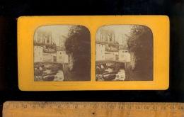 Photographie Stéréoscopique 3D Relief Photo Stéréo C.1860´s ROYAT La Grotte Et Pont / Effet Incendie - Stereoscopio