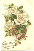 Theme Voeux Cpa Fer A Cheval Roses Heureux Mariage - Andere