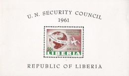 B)1961 LIBERIA, GLOBE, DOVE-PEACE, GUARDIANS OF PEACE, LIBERIA'S MEMBERSHIP IN THE UN SECURITY COUNCIL, AIRMAIL, SOUVENI - Liberia