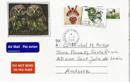 Bébés Chouette Des Terriers (Burrowing Owls), Sur Lettre CANADA, Adressée ANDORRA Avec Haute Faciale - Owls