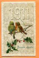 J149, Bonne Année 1911, Relief, Bird, Oiseau, Rouge-gorge,  Non Circulée  Timbre Commemorial 1911 Aigle Eagle - Nouvel An