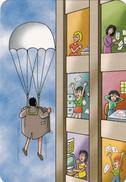 Mini Calendrier De Poche 6,8 X 9,8 Pin-up Sexy Grivoise Secrétaire Parachutiste Exhibitionniste Humour Année 2005 - Calendars