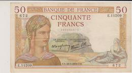 CINQUANTE  FRANCS 1939 - 50 F 1934-1940 ''Cérès''