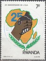 Rwanda 1988 Michel 1399 O Cote (2005) 0.50 Euro 25 Ans Organisation De L´unité Africaine Cachet Rond - Rwanda