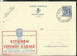 Belgique, Entier Obl. Publibel N° 1073  CITROËN La Ventouse De La Route  (obl.: Wavre 18/03/1952 - Voitures