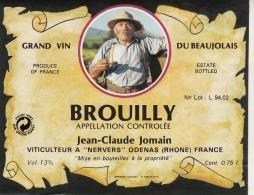 Étiquette : GRAND VIN  DU BEAUJOLAIS - BROUILLY - Jean Claude Jomain - Labels