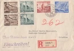 DR Konsulats-R-Brief über Sibirien-Japan Nach Columbien Mif Minr.2x 739,2x 740,741,742 Zensur - Briefe U. Dokumente