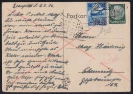 DR Karte Eilbote Mif Minr.516,603 Wuppertal 4.2.36 - Briefe U. Dokumente