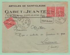 Fr7. Daguin + Trace Du Piston. St-Claude Ses Pièrres Pour Bijoux. 12.9.32     3x Sur 50c Semeuse - Postmark Collection (Covers)