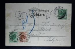 Belgium German Postcard Valtenberge To Gent, 1898 OPBTX 3 + 4