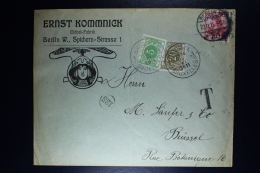 Belgium German Company Cover Berlin To Brussels To Gent, 1911 OPB TX 3 + 6 - Strafportzegels