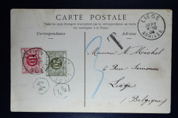 Belgium Picture Postcard BBeauvais Fr To Liege Luik  Stamp At Front , 1904 OPB TX 5 + 6 - Strafportzegels